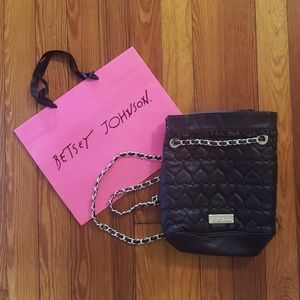 Betsey Johnson Heart Quilted String Backpack